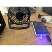 Solar power bank + USB fan