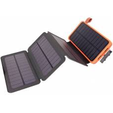 Solar power bank with fixed and detachable solar mats